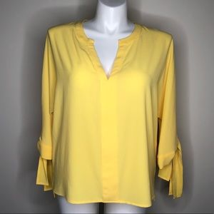 New York & Company Yellow V-Neck Blouse